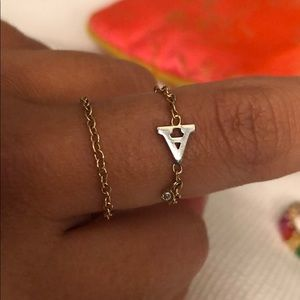 Chain Ring letter A NEW !!!!! 14K GOLD !!!!